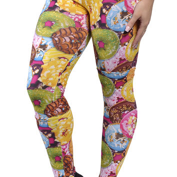 BadAssLeggings Women's Colorful Donuts Leggings Medium