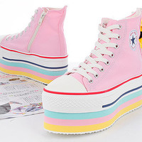 Maxstar CN9 7-Holes Zipper Double Platform Sneakers Pink