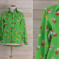 Vintage 1970s Balloon Party Shirt / Lime Green Bow Button Up Blouse / Novelty Print Pointy Collar Medium M Shirt