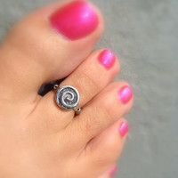 Toe Ring, Silver Swirl Metal Bead Toe Ring