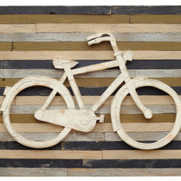 Rustic Pallet Bicycle Sign, Navy, Signs