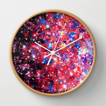 WRAPPED IN STARLIGHT Bold Colorful Abstract Acrylic Painting Galaxy Stars Pink Red Purple Ombre Sky Wall Clock by EbiEmporium