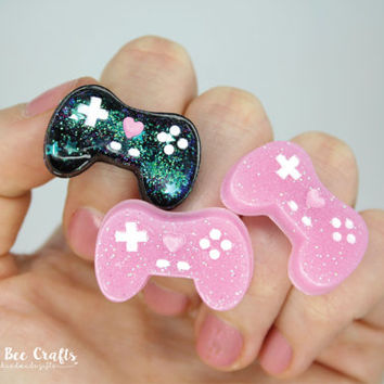 Kawaii Gamer Girl Ring, Cute Video Game Controller Ring, Glitter Resin, Sweet Lolita Accessories, Resin Ring, Fairy Kei, Gamer Jewellery