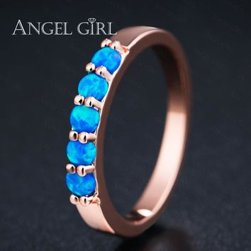 AngelGirl Cute Round Blue Fire Opal Rings with Rose gold color for Women Trendy Engagement Wedding Jewelry for gift anillos