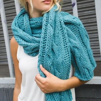 Long Cable Knit Scarf - Emerald by POL Clothing