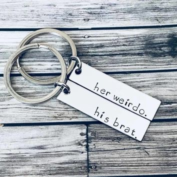 His Brat Her Weirdo Couples Keychains, Anniversary Gift