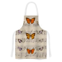 "Suzanne Carter ""Butterfly Opera"" Music Tan Artistic Apron"