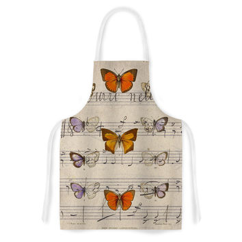 """Suzanne Carter """"Butterfly Opera"""" Music Tan Artistic Apron"""