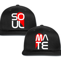 soul mate with heart couple matching snapback cap