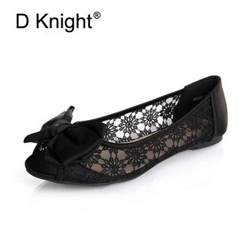 New Fashion Bow Round Toe Slip-on Women Lace Flats Comfortable Ladies Casual Flat Shoes Women's Lace Ballerinas Flats Size 35-40