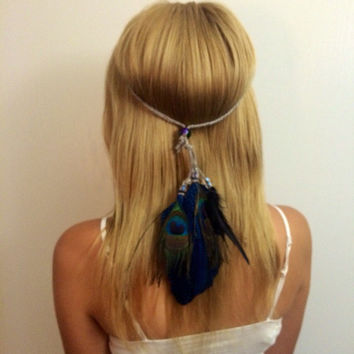 Blue, peacock, bright, vivid, colorful, feather, feathers, feather headband, Feather hair comb, bridal hair comb, feather extension, feather