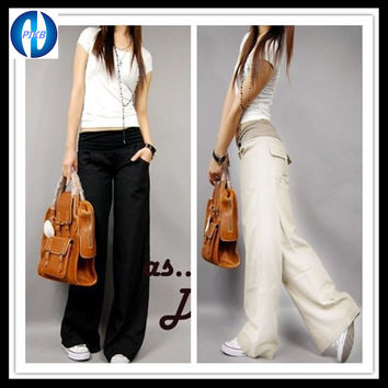 Women Linen Elastic Waist Wide Straight Trousers