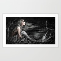 Mermaid at Midnight Art Print by Justin Gedak