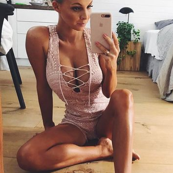 Women's Fashion Summer Ladies Lace Hollow Out Sexy V-neck Backless Slim Jumpsuit [11823630031]