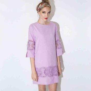Lavender Crochet Sleeve Shift Dress
