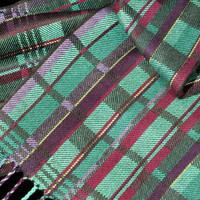Modern Hand Woven Scarf, Teal, Weaving by Loom on the Lake