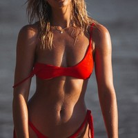 Crimson Scooped Bikini Top - Swimwear by Sabo Skirt