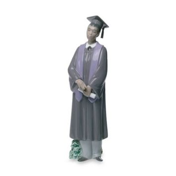 Nao® by Lladro Treasured Memories Graduate Celebration Porcelain African American Male Figurine