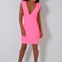 Crushin Neon Pink Textured Super Stretch Deep Plunge Bodycon Mini Dress | Pink Boutique