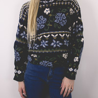 Vintage Floral Dark Sweater