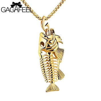 Gagafeel Hot Sell Big Fish Bone Pattern Necklace For Men Jewelry Stainless Steel