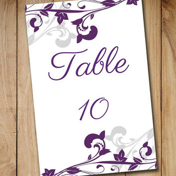"Wedding Table Number Template Download -  DIY Wedding Table Card Template ""Whimsical Vines"" Eggplant Purple Silver Gray - 4 x 6 Table Card"
