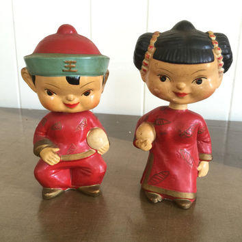 Vintage Asian Bobblehead Dolls Nodders Chinese Made in Japan Set of 2 Boy and Girl
