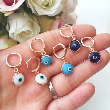 Blue evil eye hoop earrings