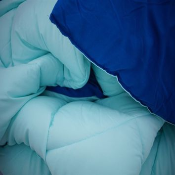 Bleached Aqua/Pacific Blue Reversible College Comforter - Twin XL Dorm Bedding