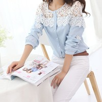Women's Wild Hollow Lace Stitching Chiffon Long Sleeve Shirt Blouse Top