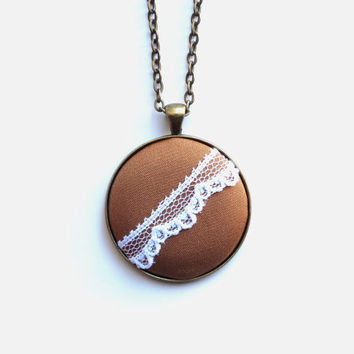 VALENTINES DAY SALE Minimalist Copper Brown Necklace, White Lace, Pretty Boho Chic Jewelry, Spring Fashion, Asymmetrical Necklace