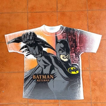 ON SALE Vintage BATMAN Returns Marvel Dc Comics Cartoons Movies 1991 T shirt Size L