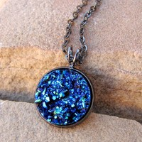 Crystal Blue Druzy Necklace