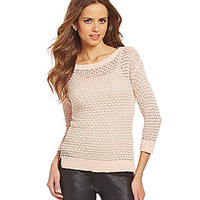 Gianni Bini Adela Textured Knit Sweater - Silver/Pale Pink