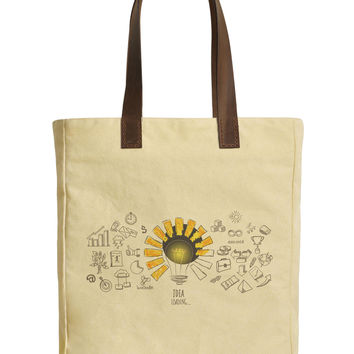 Women Idea Loading Beige Print Canvas Tote Bags Leather Handles WAS_30