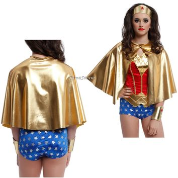 Licensed cool WONDER WOMAN Super Hero ADULT GOLD LAME HALF CAPE for Costume Cosplay Party NEW