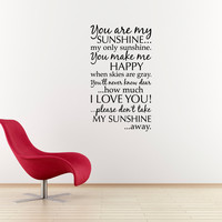 You are my Sunshine Wall Decal - Large Quote Decal