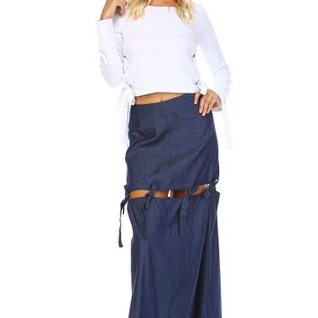 Extended Tie Mini To Maxi Skirt
