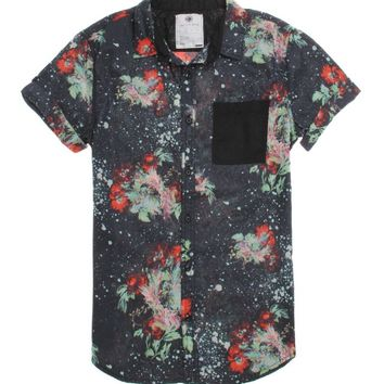 On The Byas Ryan Floral Short Sleeve Woven Shirt - Mens Shirt - Black -