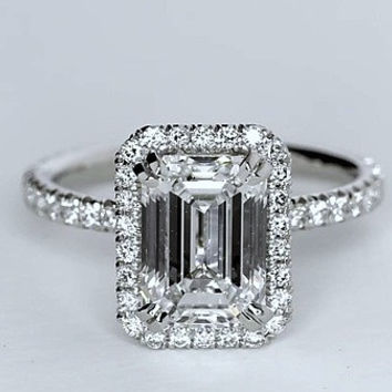 2.53ct Emerald Cut Diamond Engagement Ring GIA certified JEWELFORME BLUE