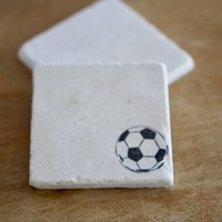 Soccer Ball Marble Coasters