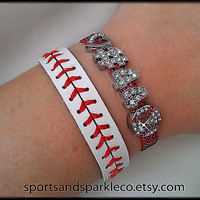 Personalized Jersey Number Bling Sports Bracelet with Heart and Rhinestone Sports Charm and Leather Baseball Bracelet Set