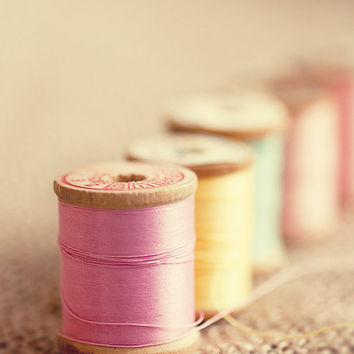 pink sewing room home decor pink yellow blue thread  vintage wood spools typography art design 8x10