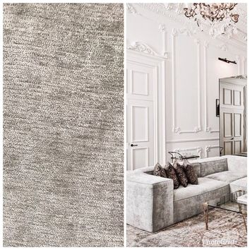 SWATCH: Designer Velvet Chenille Fabric - Antique Silver Gray - Upholstery