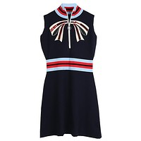 GUCCI Stylish Women Chic Bowknot Embroidery Zipper High Collar Sleeveless Dress