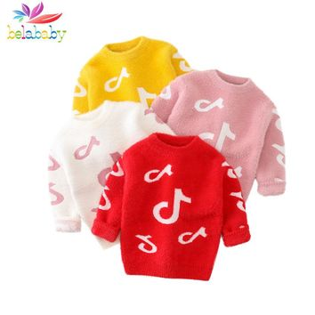Girls Warm Sweaters Kids Sweaters Winter Knitted Baby Girls Warm Fleece Clothes Kids Clothing Pullover Sweater