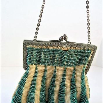 Antique Flapper Purse, Green Hand Beaded, Scalloped Bottom,   Beaded 20's Bag