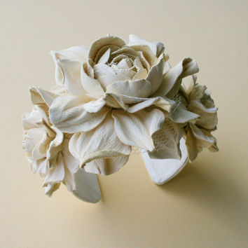 Ivory leather rose flower bracelet  Made to Order by leasstudio