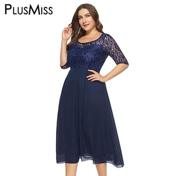 PlusMiss Plus Size 6XL 5XL 4XL Vintage Retro Sexy Lace Crochet Chiffon Dress Women Autumn Dark Blue Big Size Party Midi Dresses