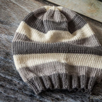 Luxury Striped Slouch Beanie Hat - Merino Wool/Cashmere - Graphite, Slate, Ecru - Choose Size - Adult, Children, Toddler, Baby